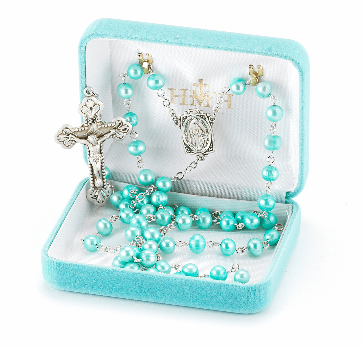Blue Freshwater Pearl Sterling Silver Prayer Rosary by HMH Religious