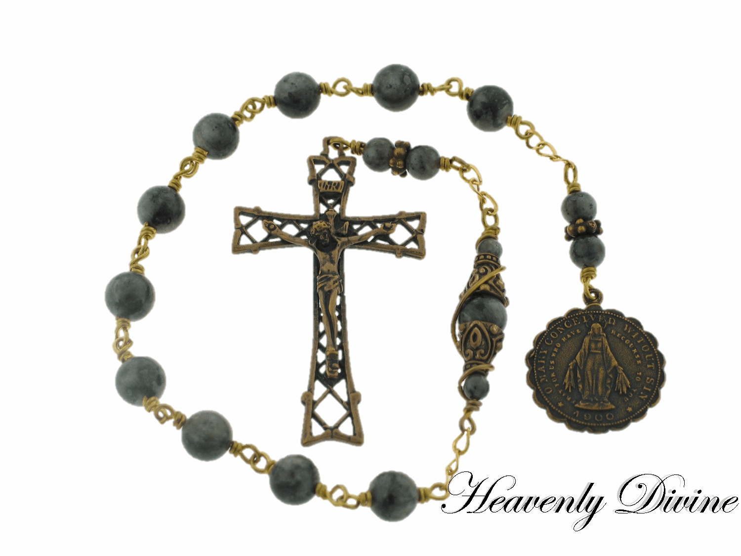 Blue Labradorite Sodality of the Children of Mary Pocket Rosary by Heavenly Divine
