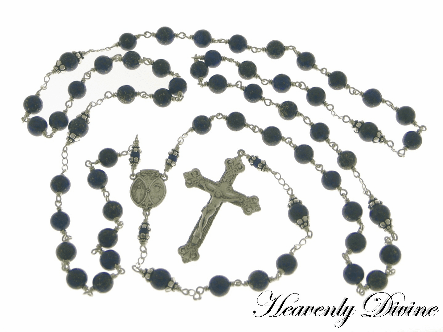 Blue Lapis Wire Wrapped Sterling Silver Rosary by Heavenly Divine