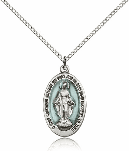 Blue Miraculous Catholic Medal Necklace with Chain by Bliss