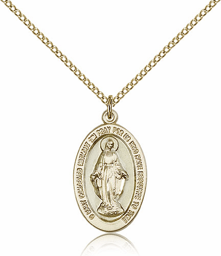 Blue Epoxy Miraculous Medal Gold-filled Patron Saint Catholic Necklace by Bliss