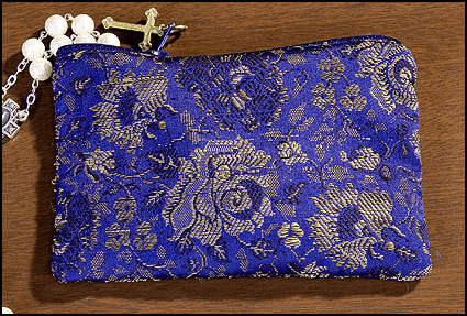 Blue Rose Brocade Tapestry Rosary Zipper Cases 4pcs