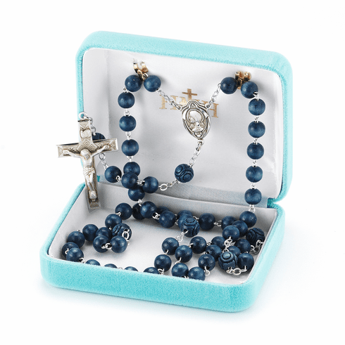 Blue Round Italian Wood Bead Prayer Rosary by HMH Religious