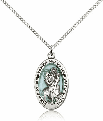 Blue St Christopher Patron Saint Catholic Medal Necklace by Bliss