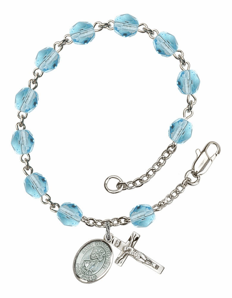 Blue St Christopher Silver Plate Aqua Birthstone Rosary Bracelet by Bliss