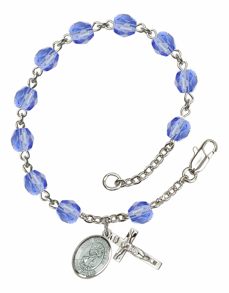 Blue St Christopher Silver Plate Sapphire Birthstone Rosary Bracelet by Bliss