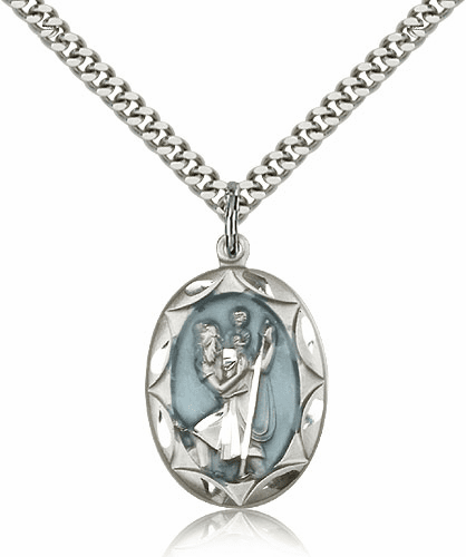 Blue Sterling Silver St. Christopher Pendant Necklace by Bliss