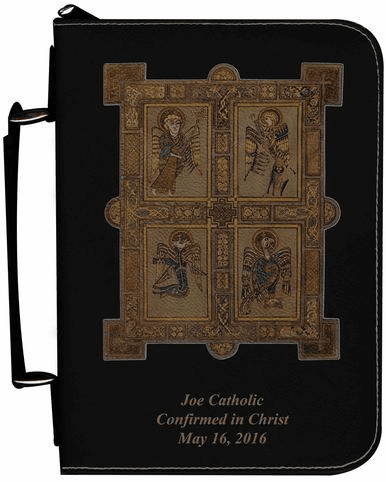 Book of Kells Personalized Black Catholic Bible Cover Case