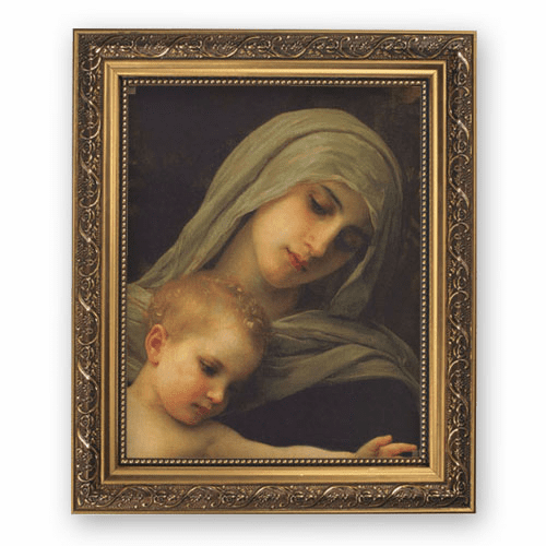 Bouguereau Madonna and Child Framed Print Picture with Gold Frame by Gerffert