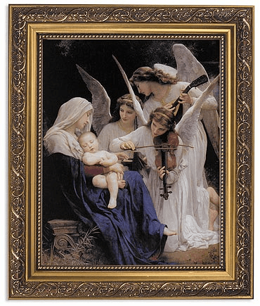Bouguereau Song of the Angels Framed Print Picture with Gold Frame by Gerffert