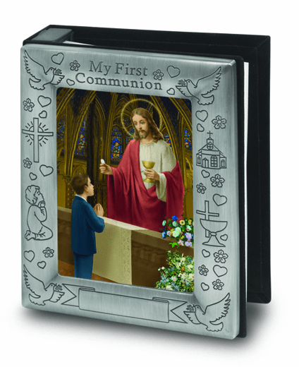 Boy's First Holy Communion Pewter Finish Photo Album by Hirten