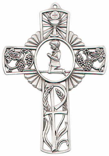 Boy's First Holy Communion Pewter Wall Cross