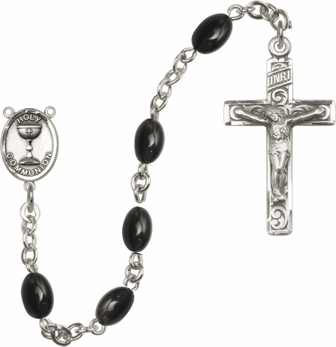 Boys Silver First Holy Communion Rosary w/Black Beads by Bliss