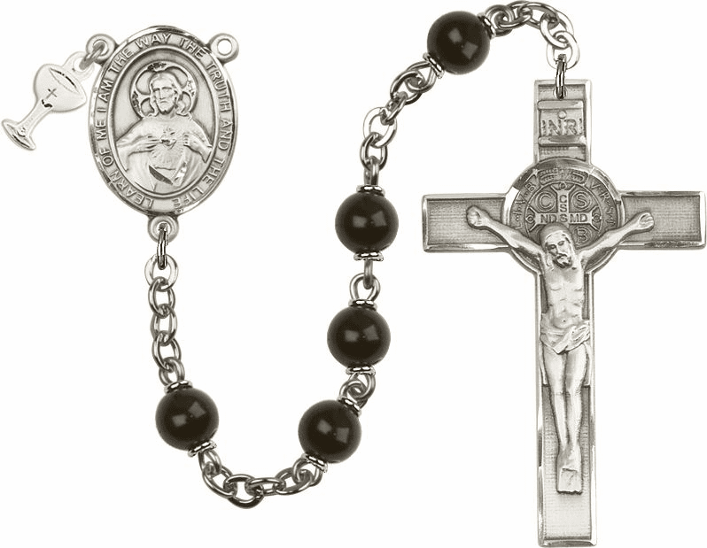 Boys St Benedict Communion Rosary with Black Beads