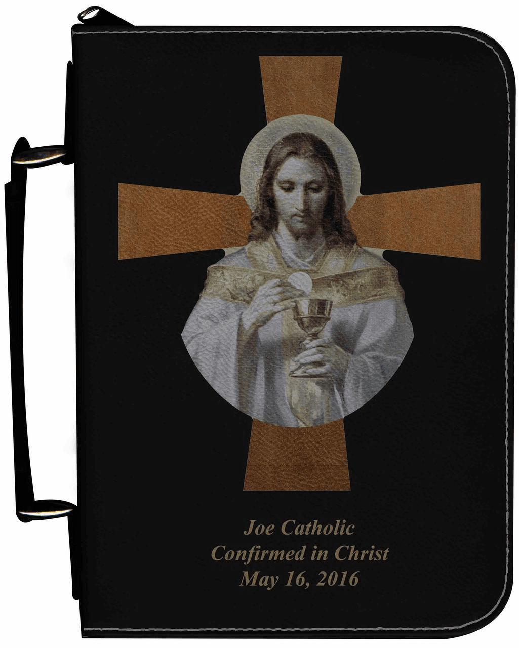 Bread of Angels Cross Personalized Black Catholic Bible Cover Case
