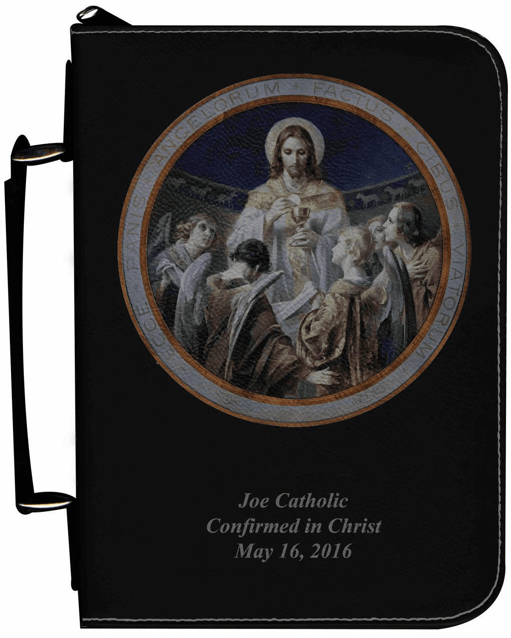 Bread of Angels Personalized Black Catholic Bible Cover Case