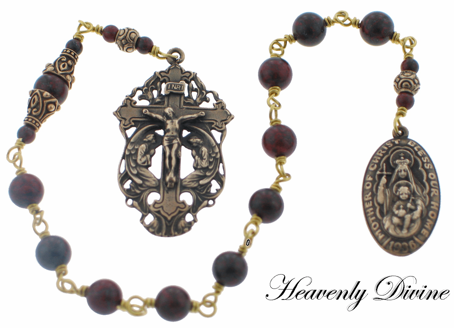 Bronze Bless Our Home Brecciated Jasper Wire-Wrapped One Decade Pocket Rosary