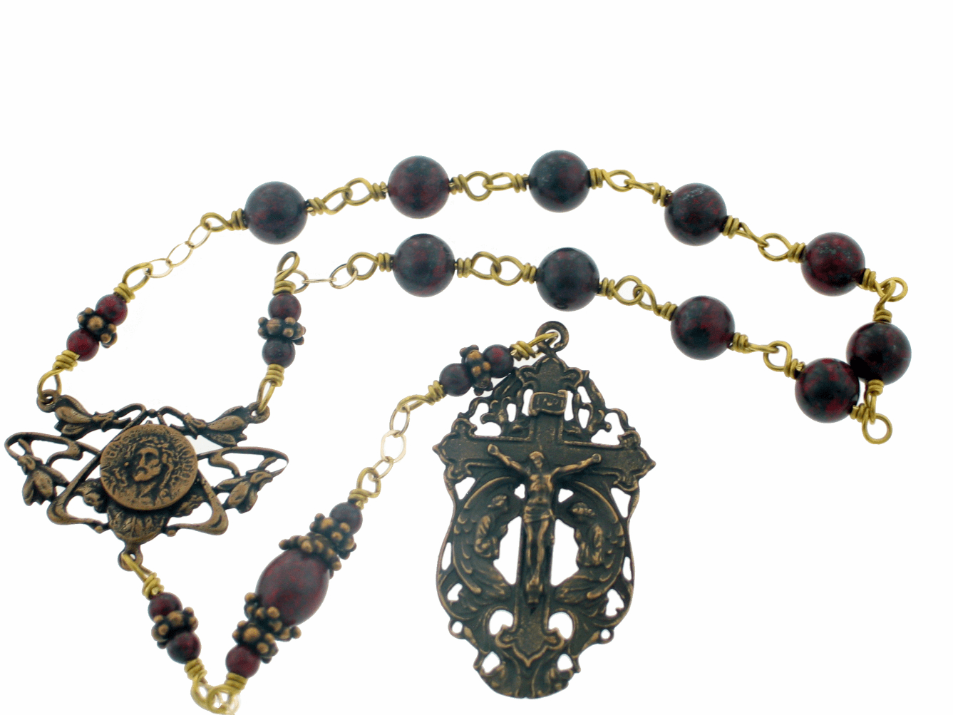 Bronze Brecciated Jasper Passion of Christ Wire-Wrapped Pocket Rosary by Heavenly Divine