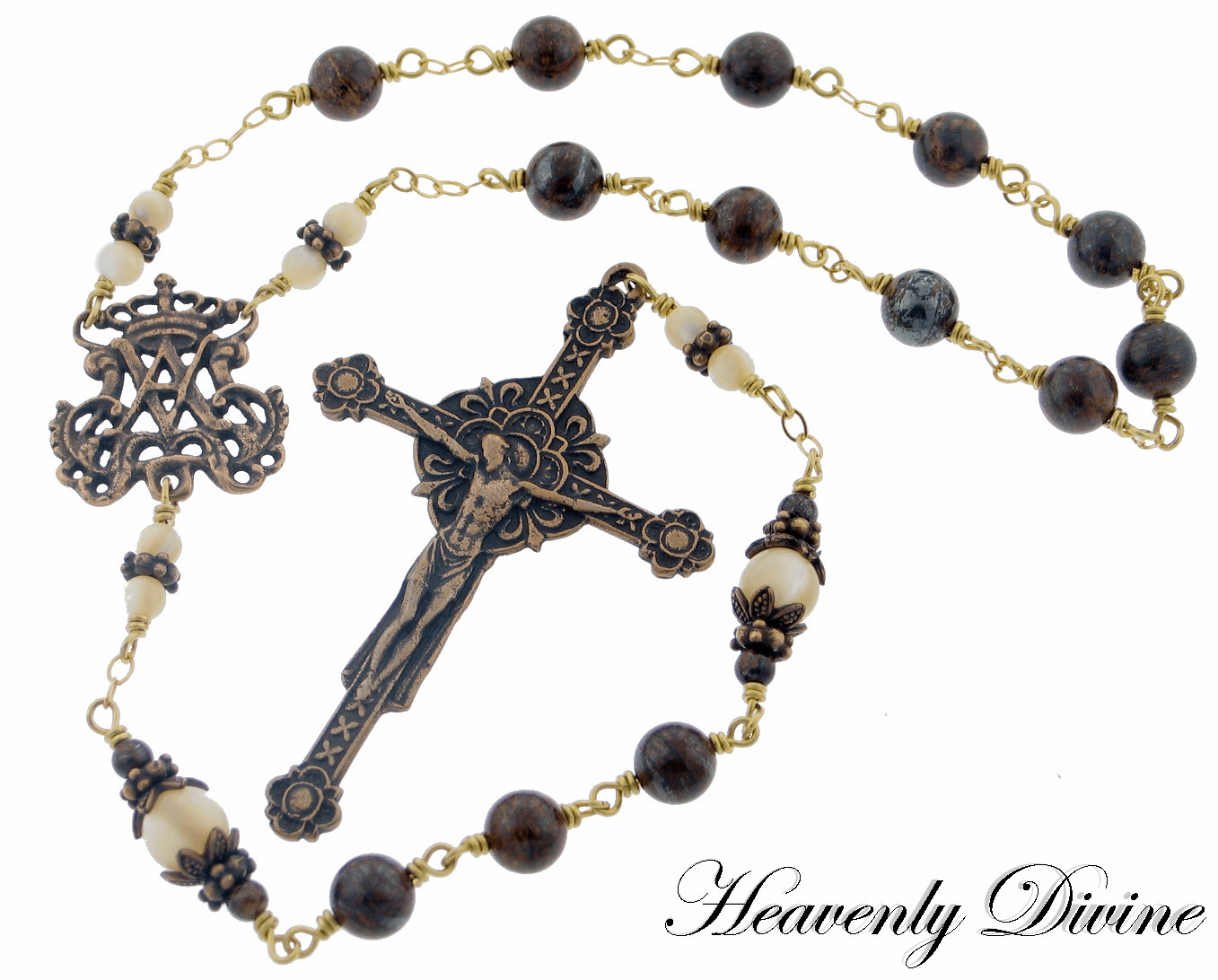 Bronze Bronzite and Mother of Pearl Renaissance Pocket Rosary by Heavenly Divine