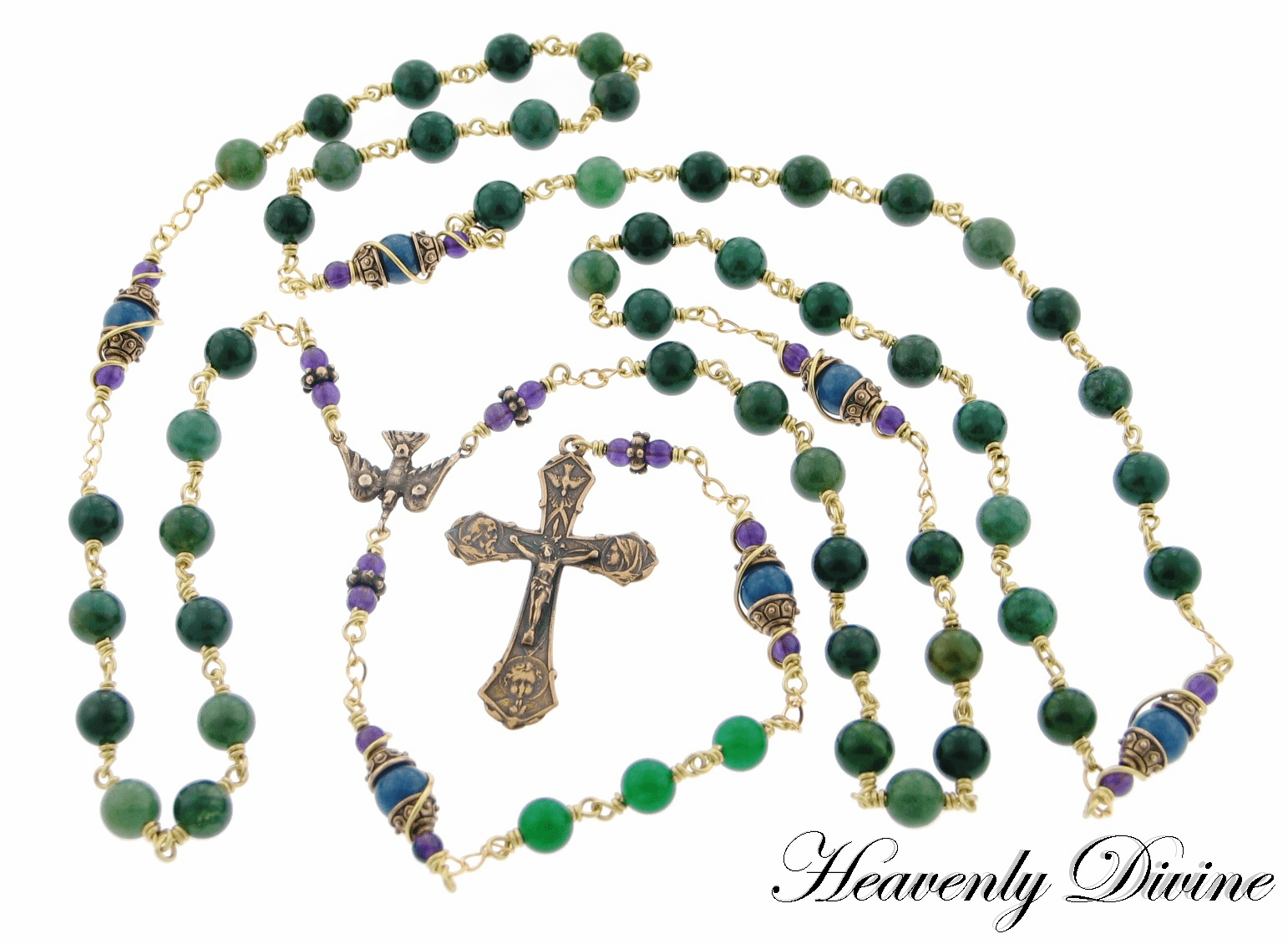Bronze Catholic Chaplet of Faith Rosary by Heavenly Divine