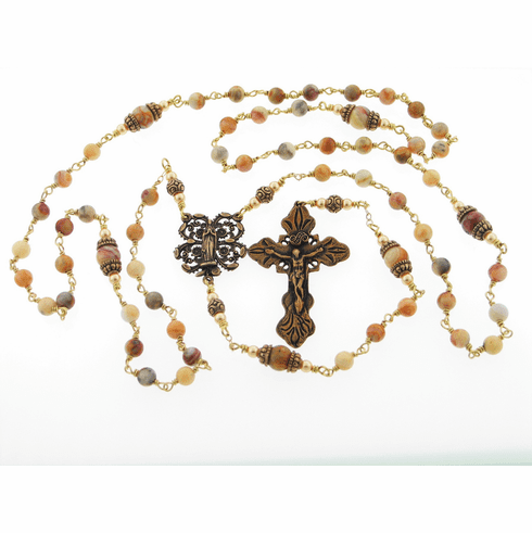 Bronze Crazy Lace Agate Wire Wrapped Prayer Rosary by Heavenly Divine