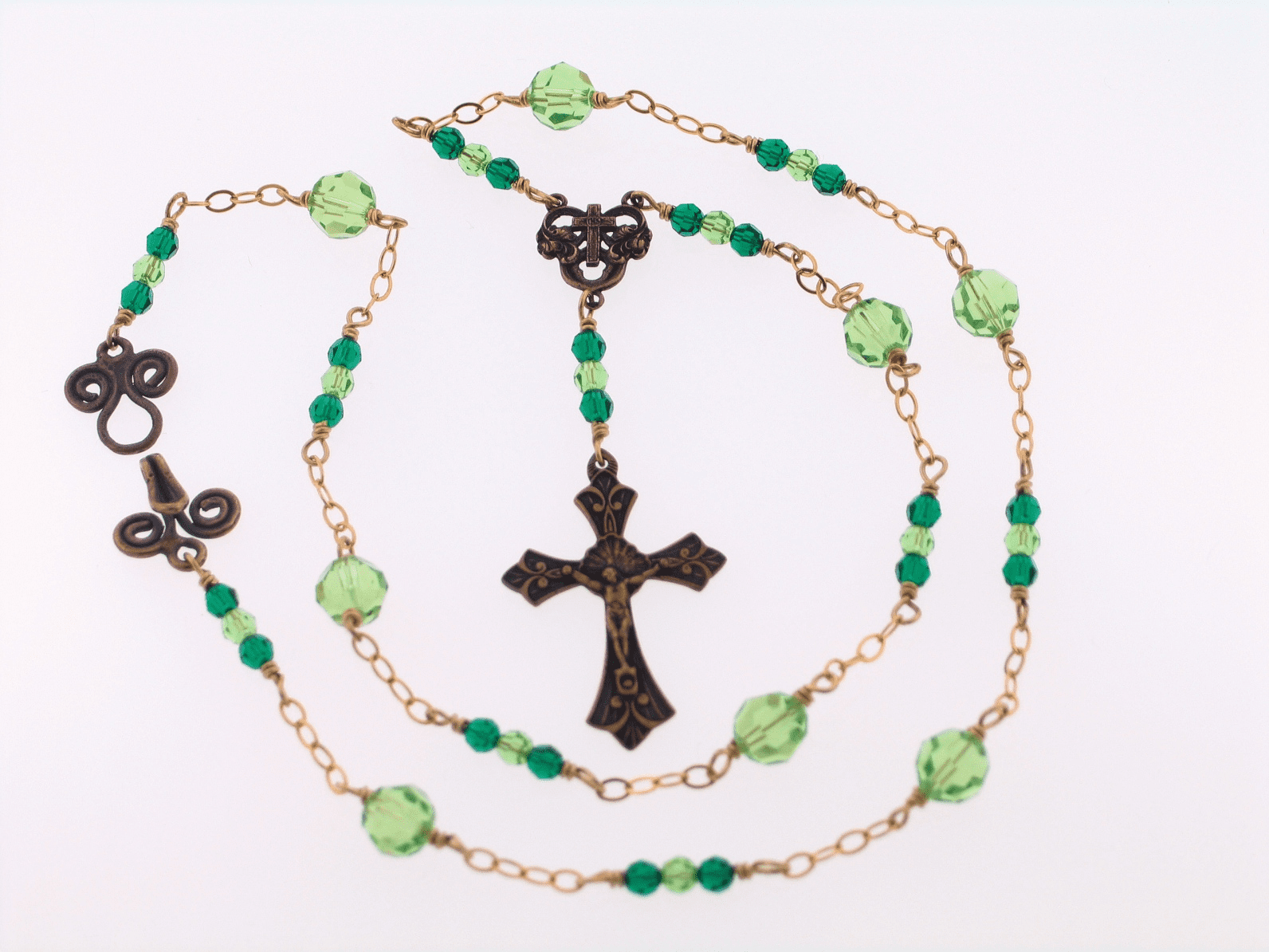 Bronze Emerald and Peridot Crucifix Wire-Wrapped Necklace by Heavenly Divine