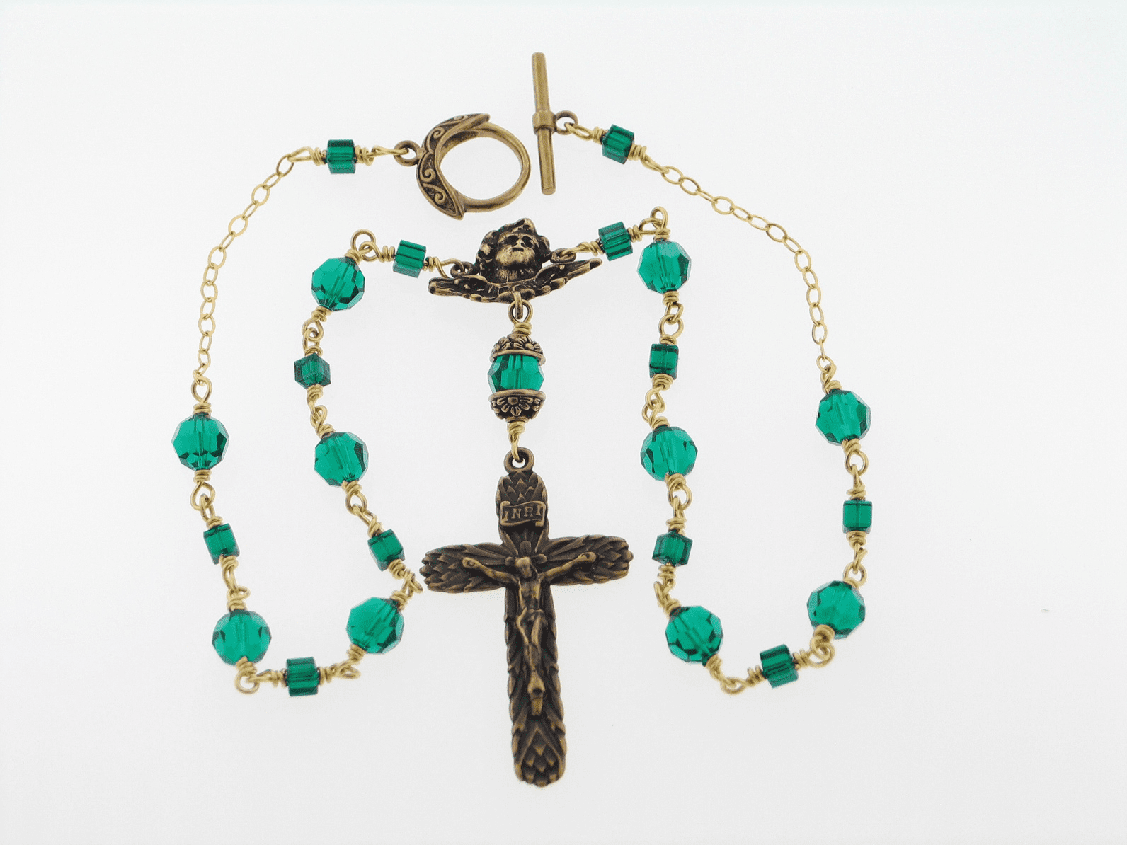 Bronze Emerald Angel Crucifix Wire-Wrapped Rosary Necklace by Heavenly Divine