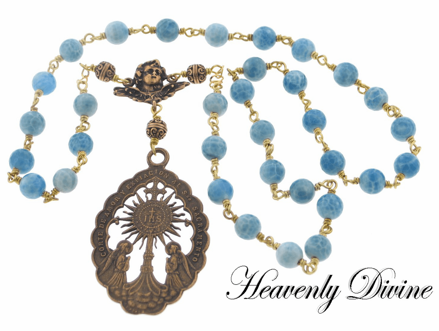 Bronze Handmade Wire Wrapped Beads of the Blessed Sacrament Chaplet by Heavenly Divine
