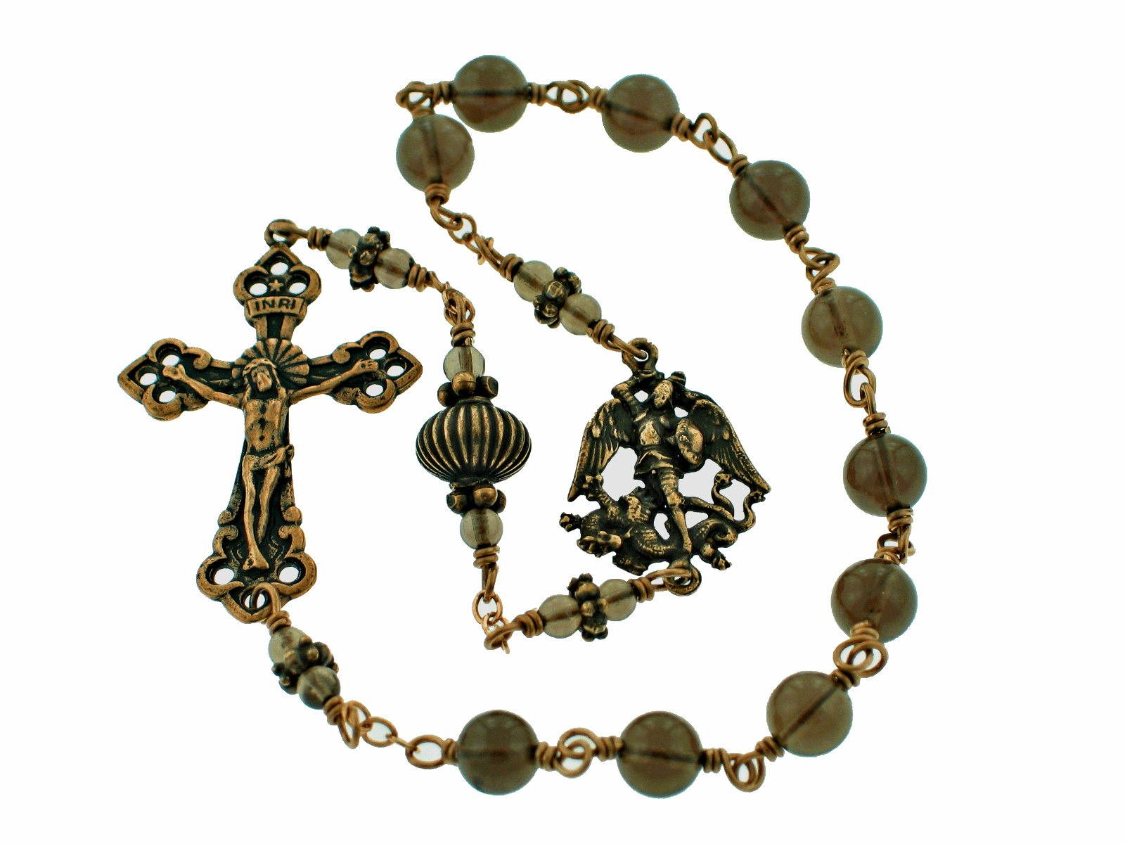 Bronze Kant-Tangle St Michael the Archangel Smoky Quartz Pocket Rosary