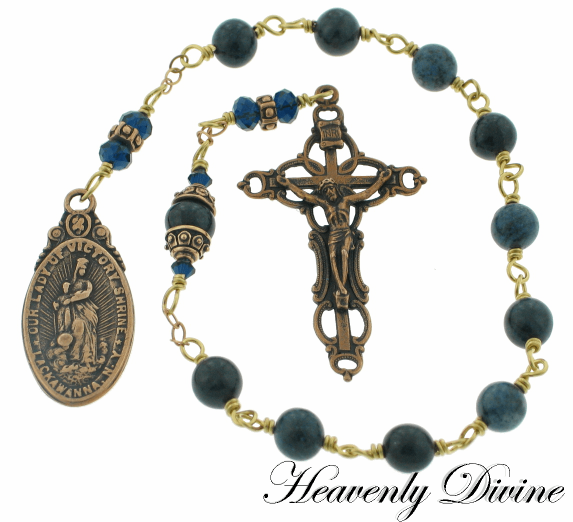 Bronze Our Lady of Victory Dumortierite & Swarovski Crystal Wire-Wrapped Pocket Rosary