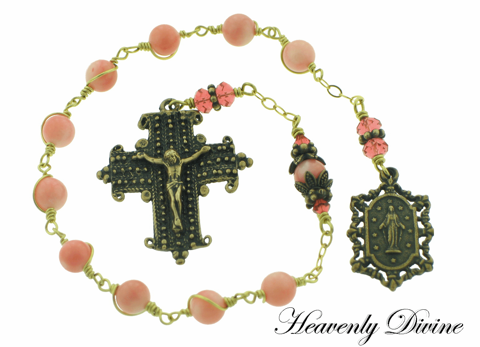 Bronze Pink Coral Swarovski Crystals Pocket Rosary by Heavenly Divine