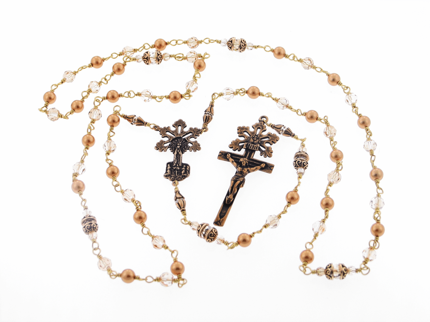 Bronze Radiant Our Lady of Fatima Gold Pearl and Crystal Rosary