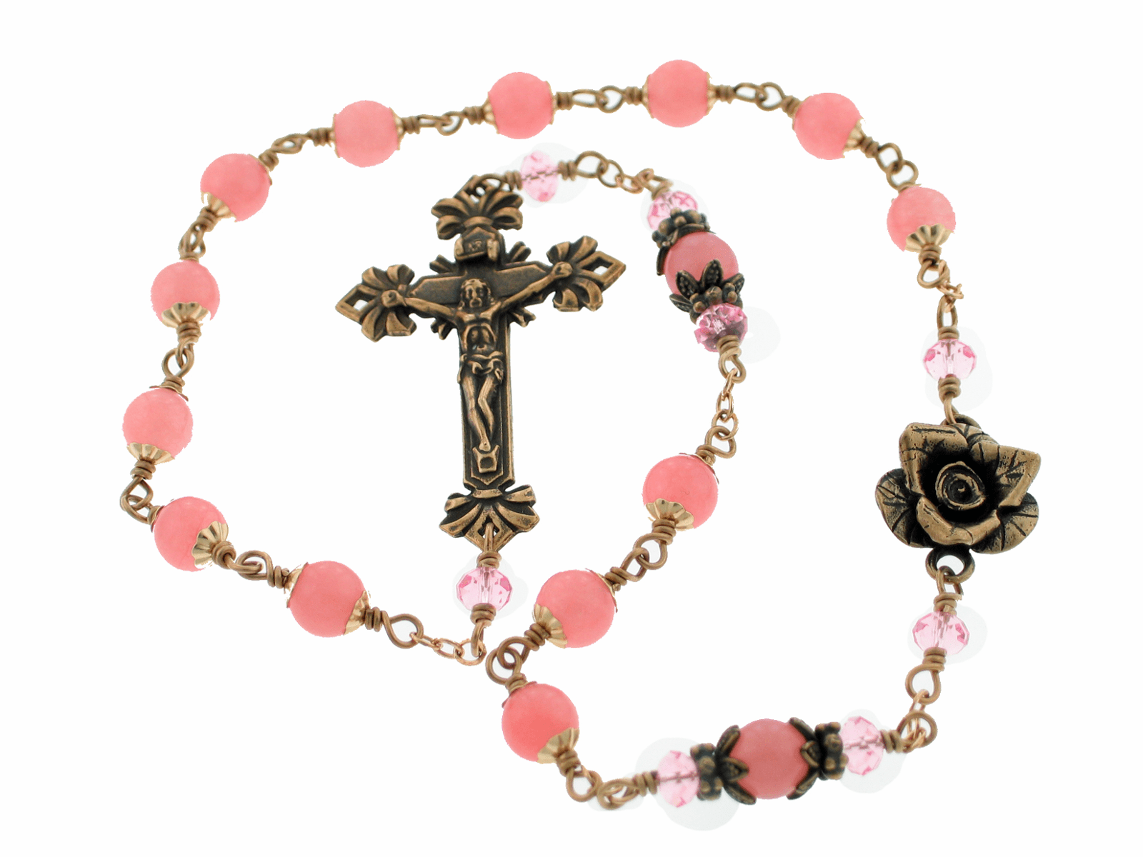 Bronze Rose Wire-Wrapped Pink Agate Kant-Tangle Pocket Rosary
