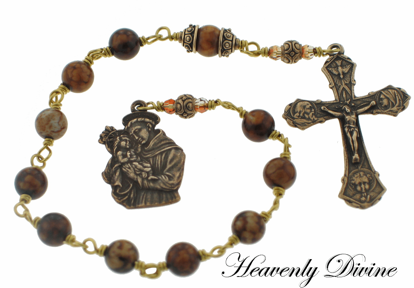 Bronze St Anthony & Child Jesus Chocolate Crackle Agate Wire-Wrapped One Decade Pocket Rosary