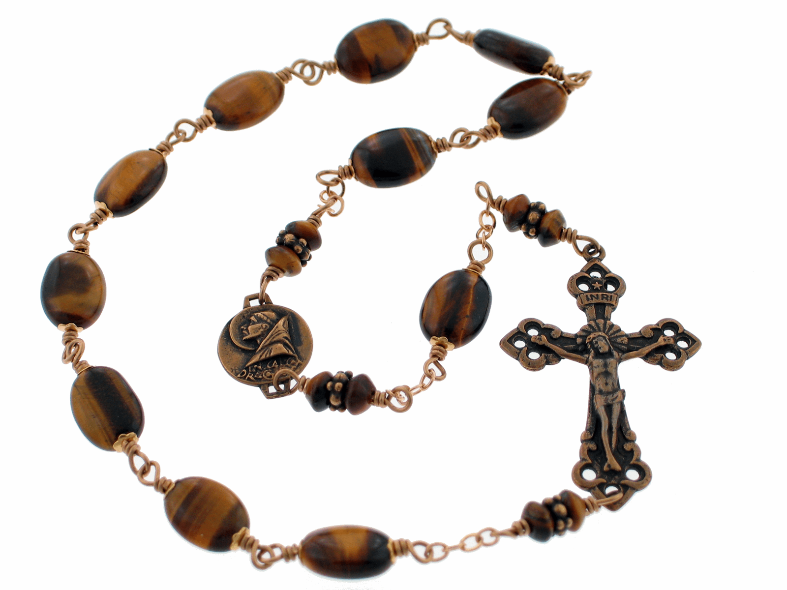 Bronze St Benedict Tiger Eye Gemstone One Decade Kant-Tangle Rosary
