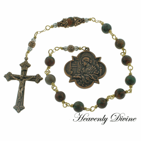 Bronze St Cecilia Green Opal Wire-Wrapped One Decade Pocket Rosary