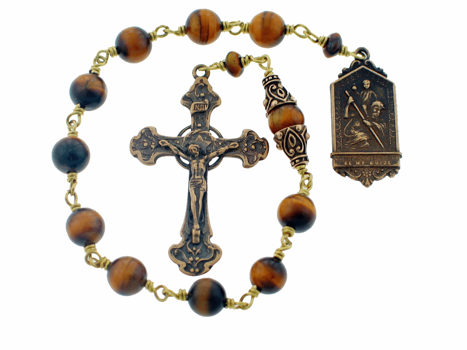 Bronze St Christopher Bronze Tiger Eye Pocket Rosary by Heavenly Divine