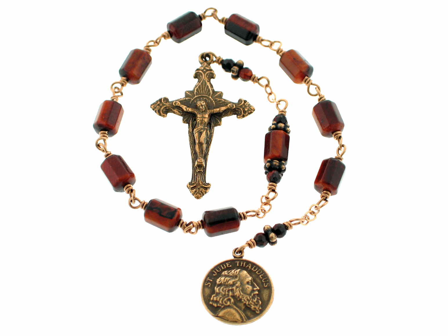 Bronze St Jude and Sacred Heart Tigereye Pocket Rosary