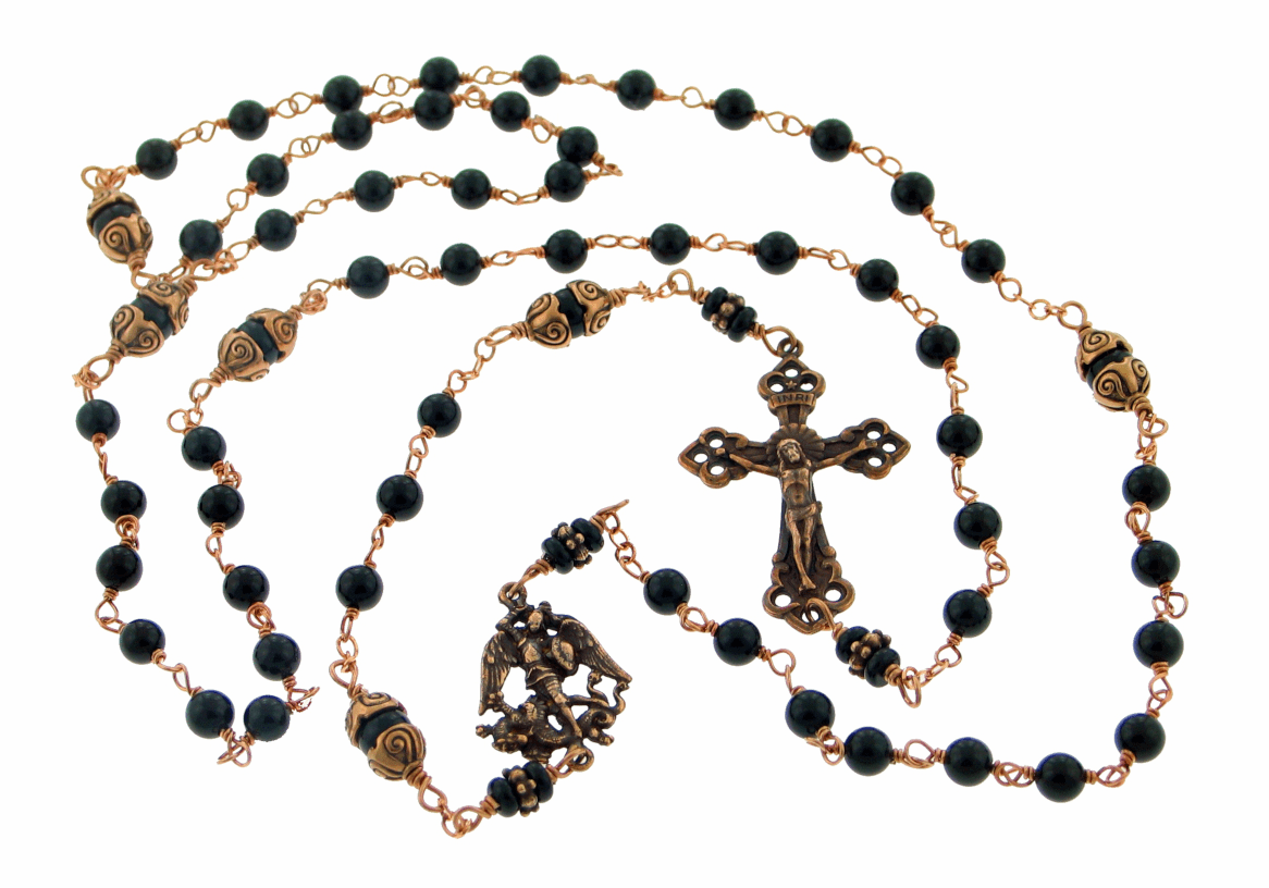 Bronze St Michael Black Onyx Kant-Tangle Wire-Wrapped Rosary
