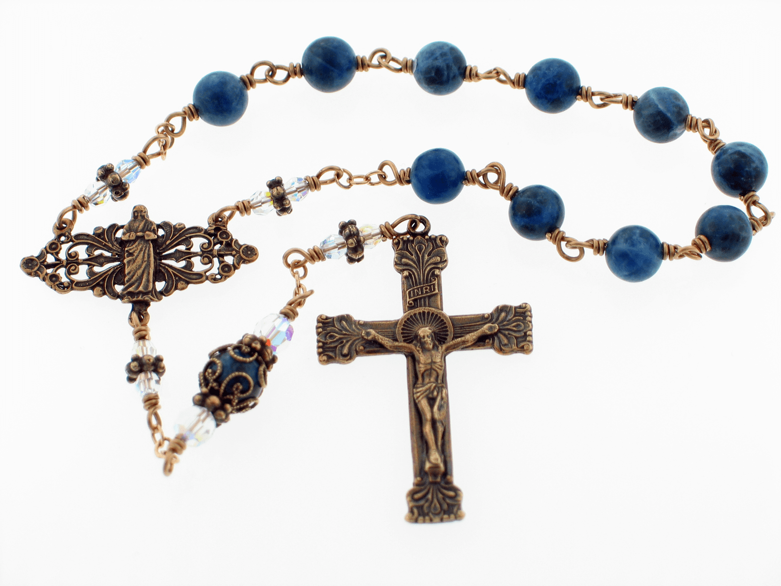 Bronze St Teresa of Calcutta Sodalite and Crystal Pocket Rosary