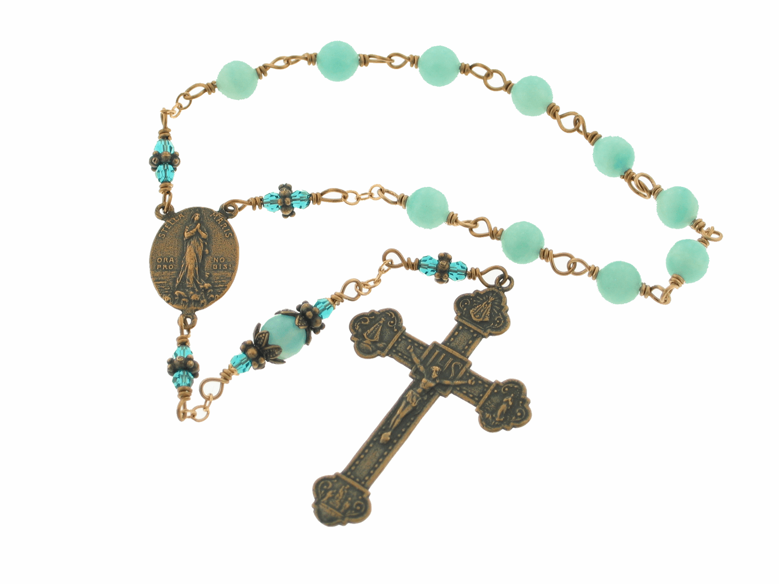 Bronze Stella Maris Our Lady Star of the Sea Pocket Rosary