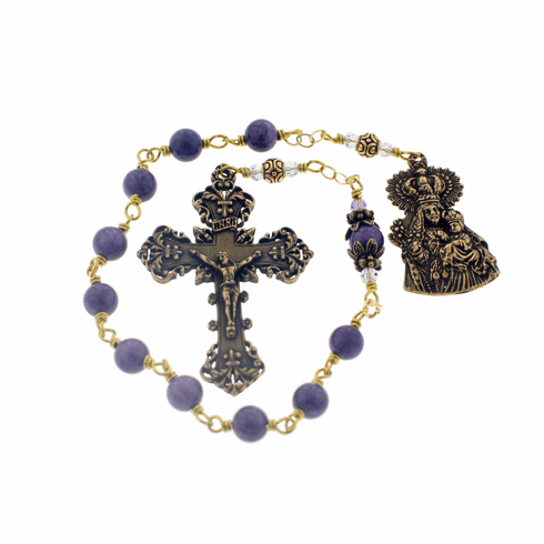 Bronze Wire-wrapped Purple Our Lady of Consolation Tenner Chaplet Rosary