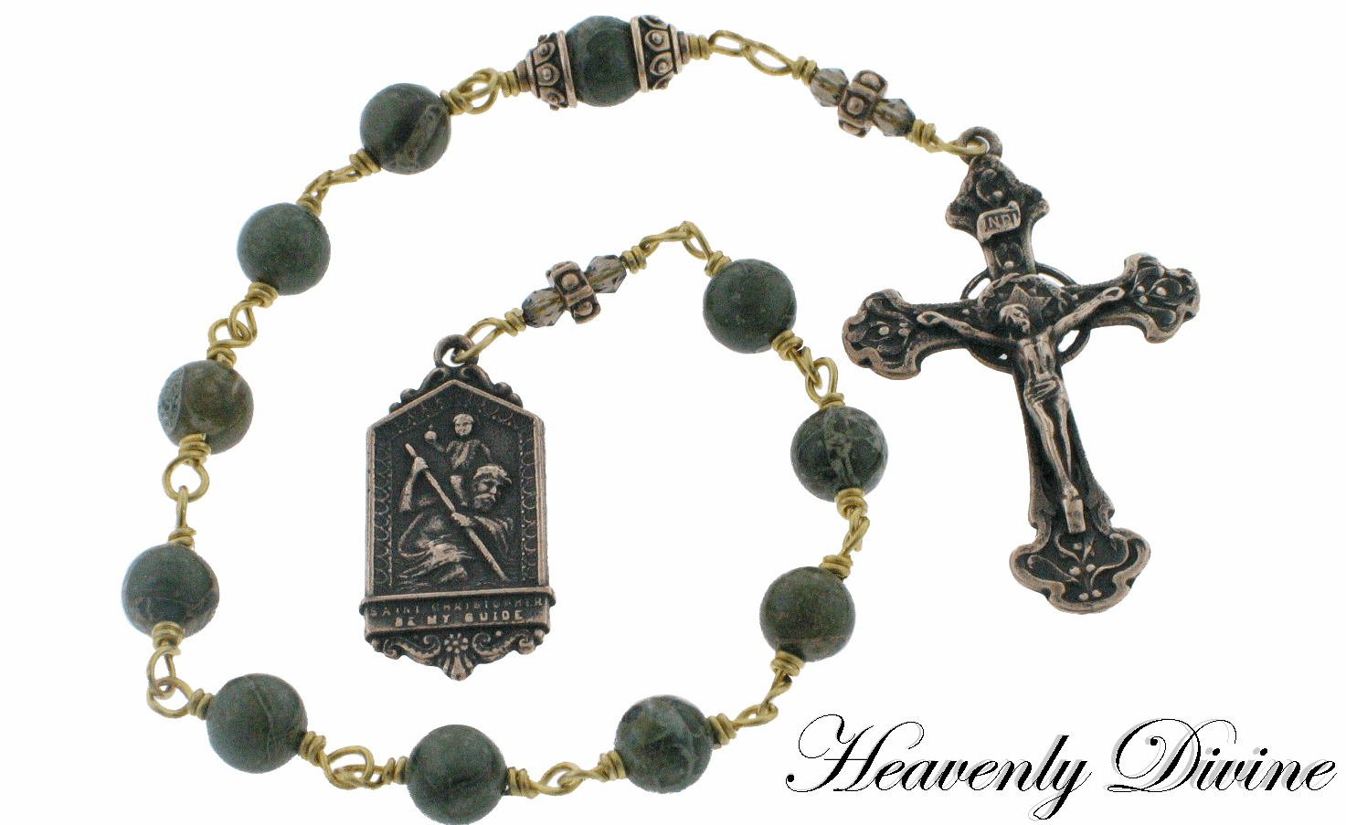 Bronze Wire-Wrapped St Christopher Green Brecciated Jasper One Decade Pocket Rosary