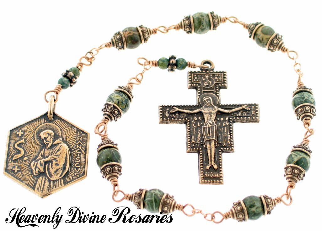 Bronze Wire-Wrapped St Francis of Assisi Green Brecciated Jasper Nine Bead Chaplet