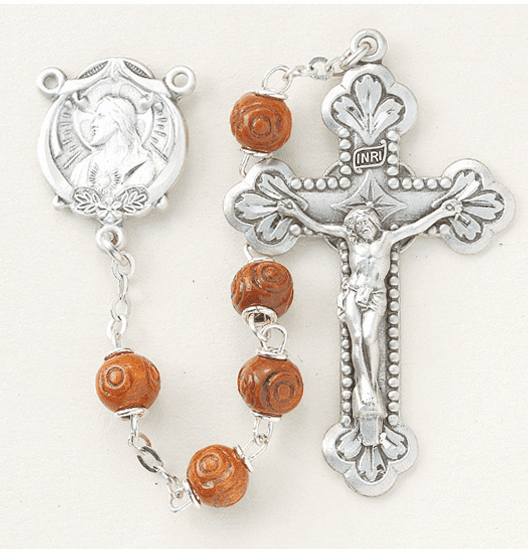 Brown Carved Coco Sterling Silver Scapular Rosary by HMH Religious
