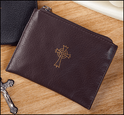 Brown Genuine Leather Holy Rosary Zipper Cases 3pcs