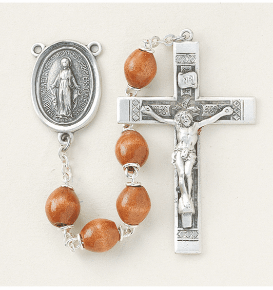 Brown Polished Oval Boxwood Sterling Silver Rosary by HMH Religious