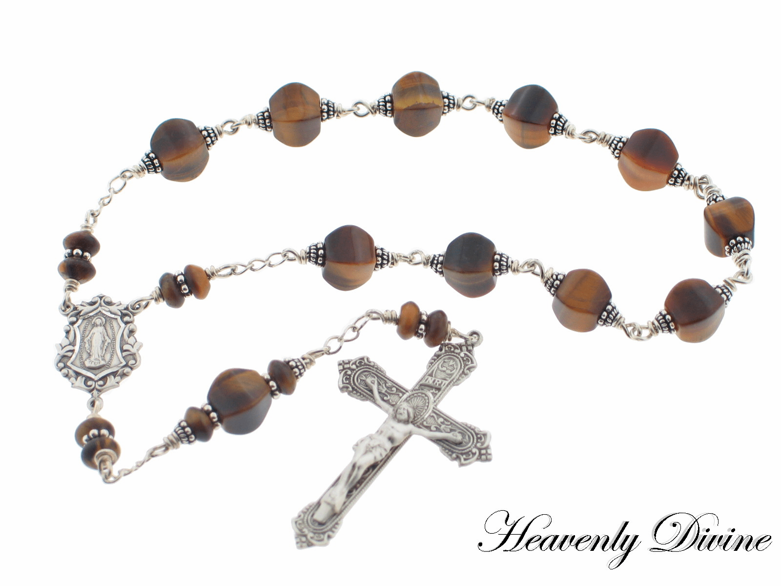 Brown Tigereye & Sterling Silver Wire Wrapped Pocket Rosary