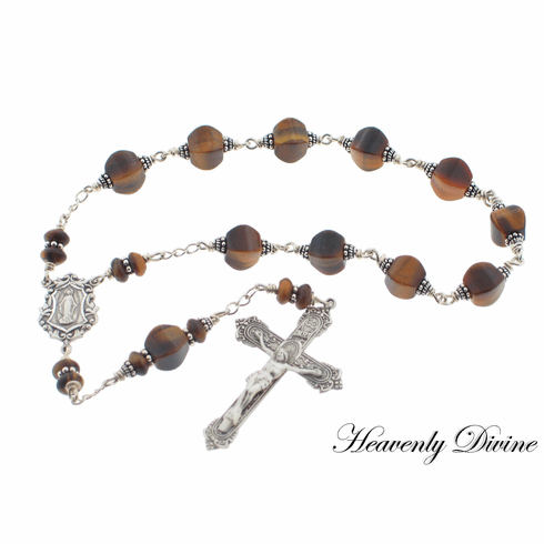 Heavenly Divine Brown Tigereye Sterling Silver Wire Wrapped Pocket Rosary