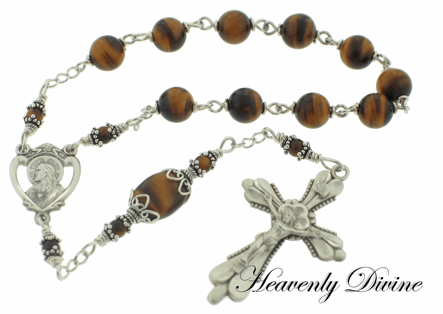Heavenly Divine Rosaries Brown Tigereye Sterling Silver Wire-Wrapped Pocket Rosary